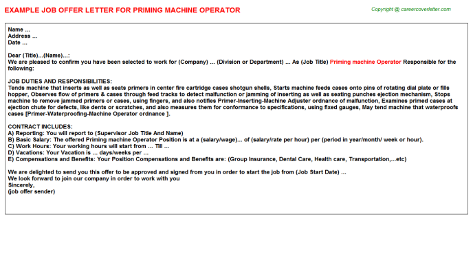 Priming Machine Operator Offer Letter Template