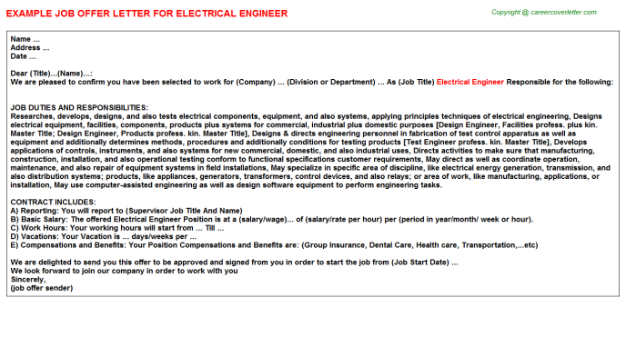 Electrical Engineer Offer Letter Template