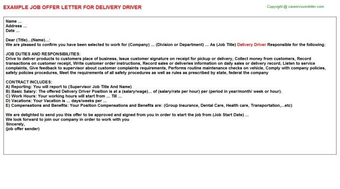 Delivery Driver Offer Letter Template