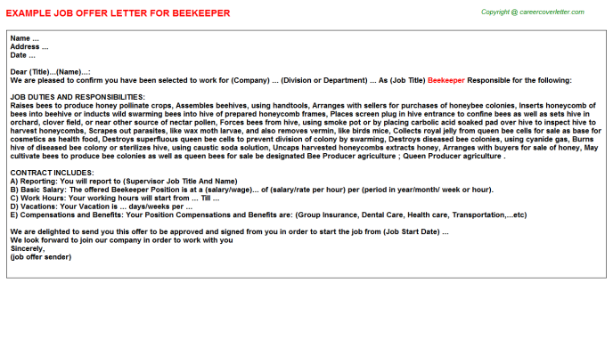 Beekeeper Job Offer Letter Template