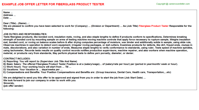 Fiberglass Product Tester Job Offer Letter Template