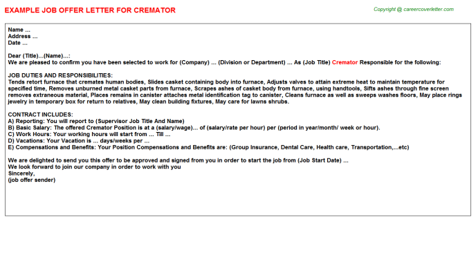 Cremator Job Offer Letter Template