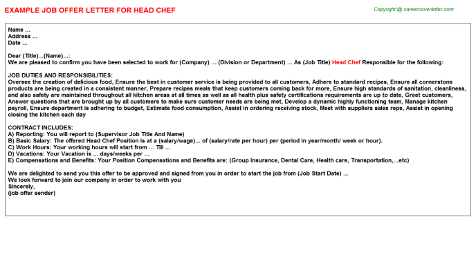 Head Chef Offer Letter Template