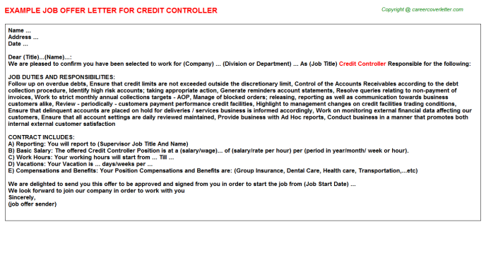 Credit Controller Offer Letter Template