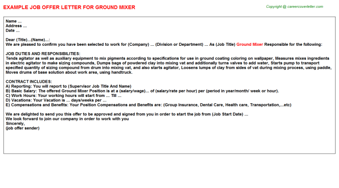 ground mixer offer letter template