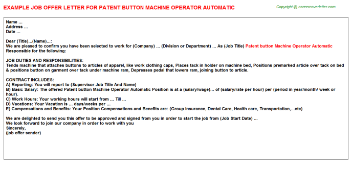 Patent Button Machine Operator Automatic Job Offer Letter Template