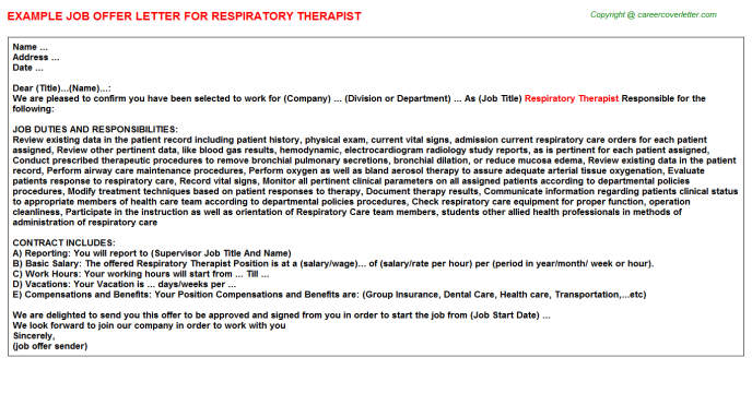 Respiratory Therapist Offer Letter Template