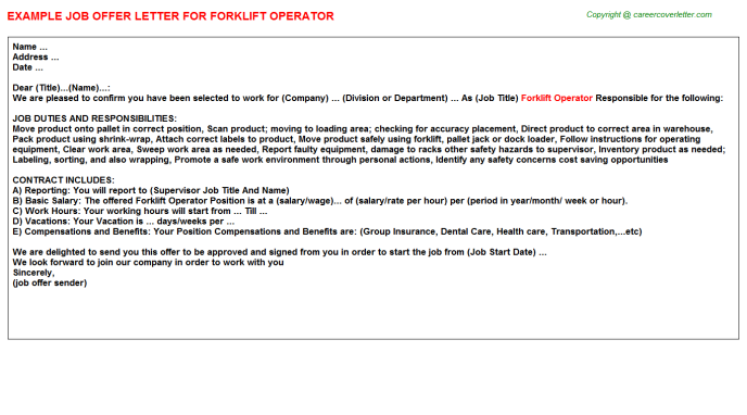 Forklift Operator Offer Letter Template