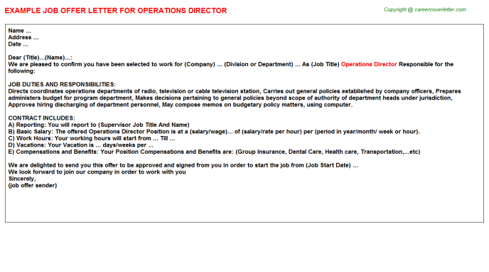 Operations Director Offer Letter Template