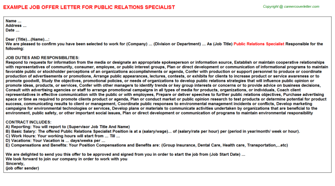 Public Relations Specialist Offer Letter Template