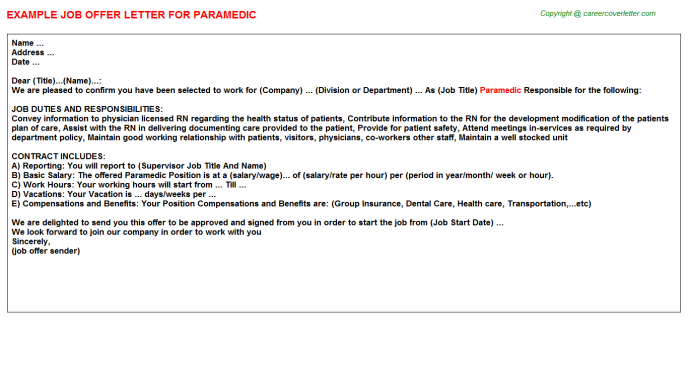 Paramedic Offer Letter Template