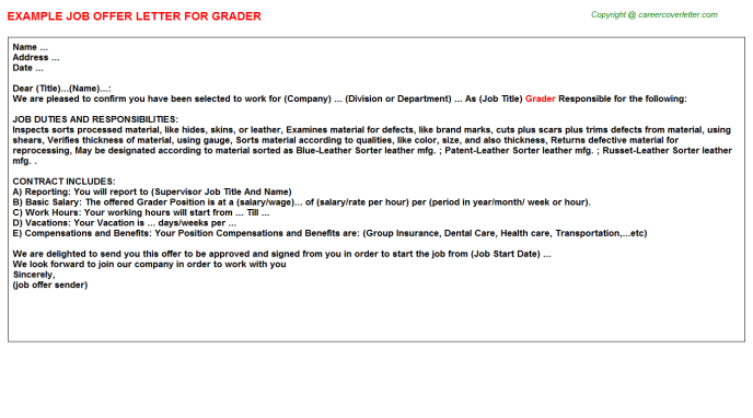 Grader Job Offer Letter Template