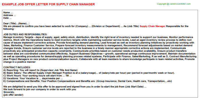 Supply Chain Manager Offer Letter Template