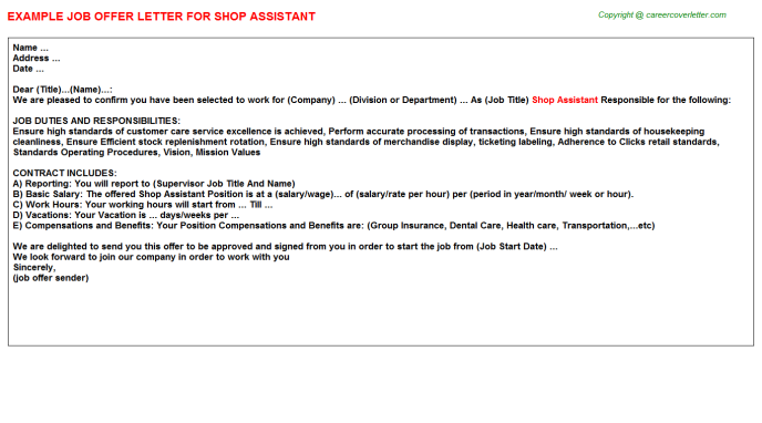 Shop Assistant Offer Letter Template
