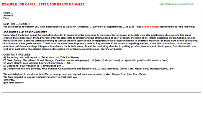 Brand Manager Offer Letter Template