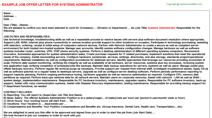 Systems Administrator Offer Letter Template