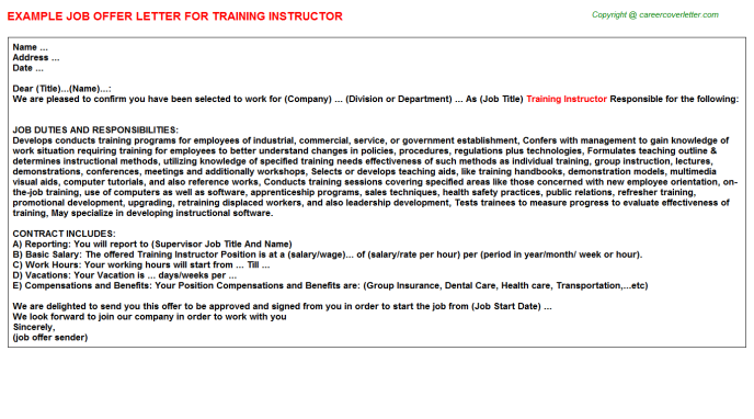 Training Instructor Offer Letter Template