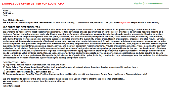 Logistician Job Offer Letter Template