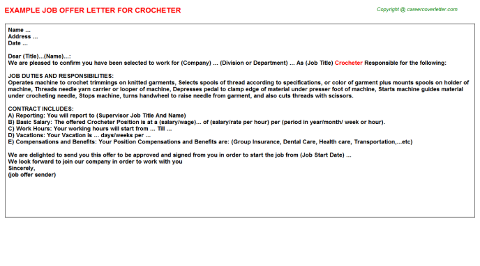 Crocheter Job Offer Letter Template