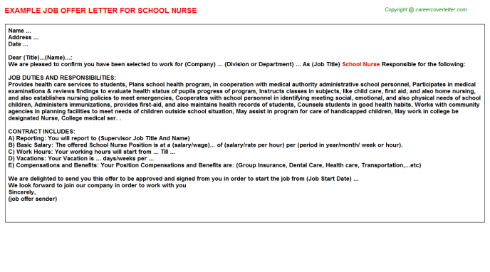 School Nurse Offer Letter Template