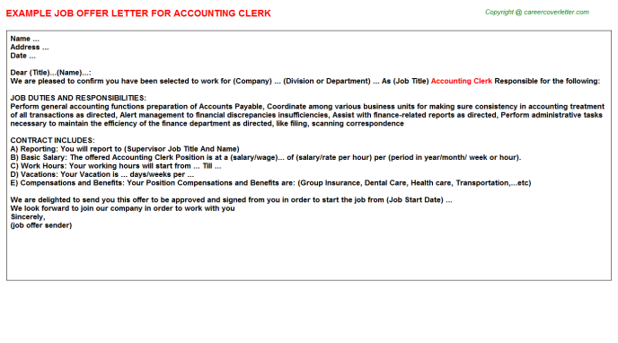 Accounting Clerk Offer Letter Template