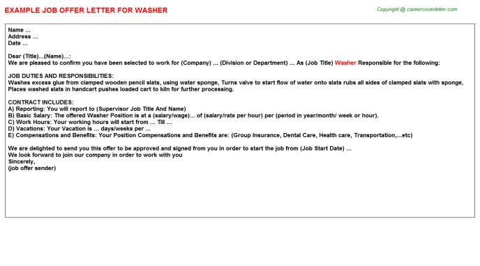 Washer Job Offer Letter Template