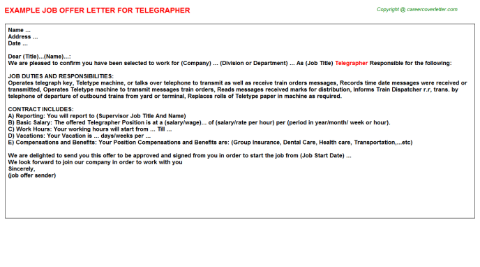 Telegrapher Offer Letter Template