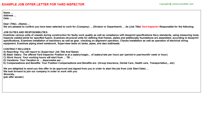 Yard Inspector Offer Letter Template