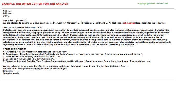 job analyst offer letter template