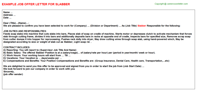 Slabber Job Offer Letter Template
