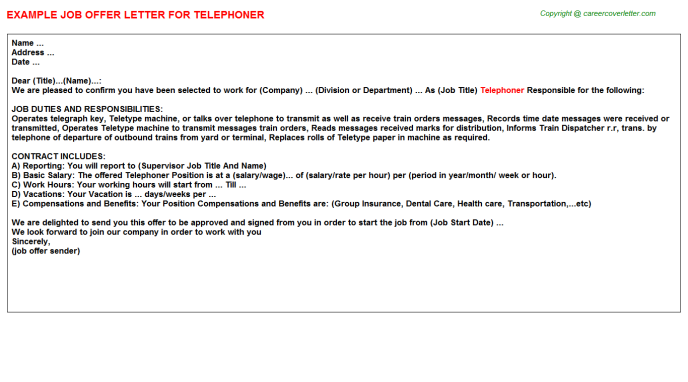 Telephoner Job Offer Letter Template