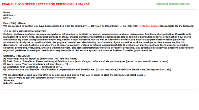 personnel analyst offer letter template
