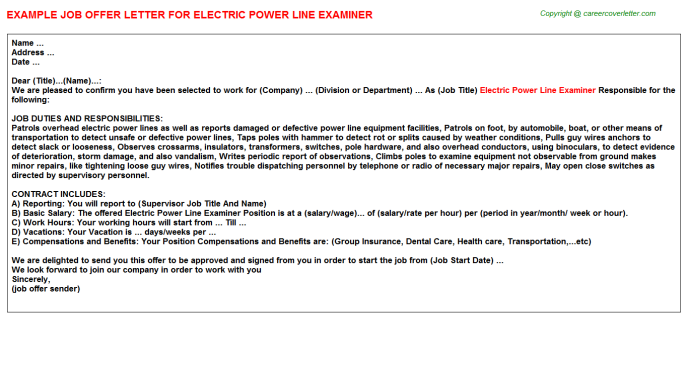 Electric Power Line Examiner Job Offer Letter Template