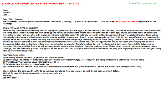 fish hatchery assistant offer letter template
