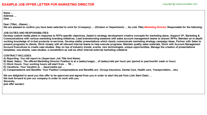 Marketing Director Offer Letter Template