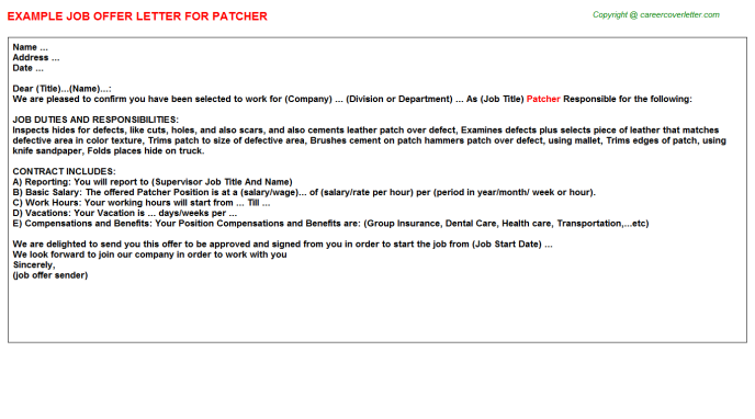 patcher offer letter template
