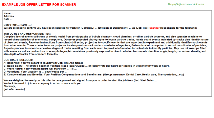 Scanner Offer Letter Template