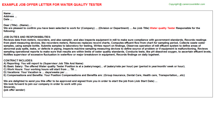 water quality tester offer letter template