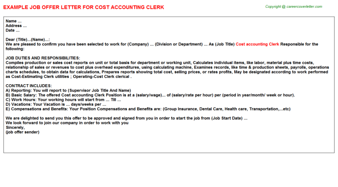cost accounting clerk offer letter template