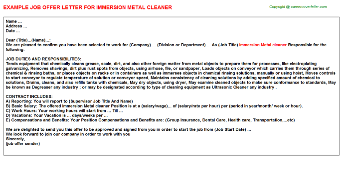Immersion Metal Cleaner Job Offer Letter