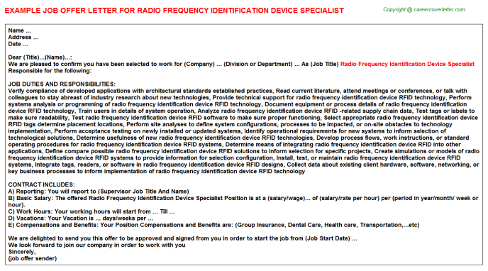 Radio Frequency Identification Device Specialist Job Offer Letter Template