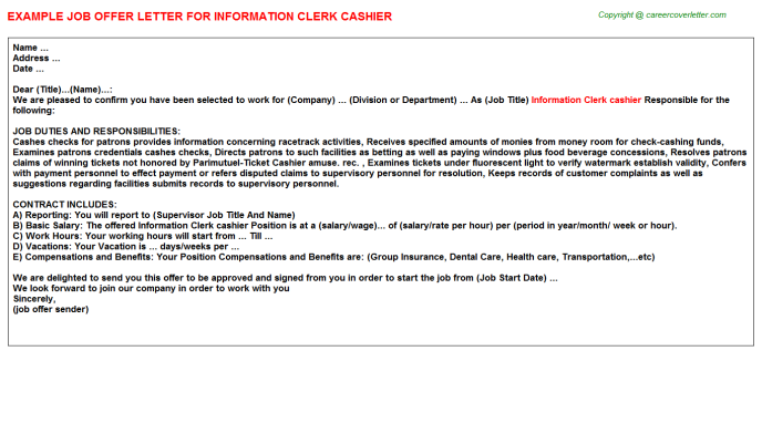 information clerk cashier offer letter template