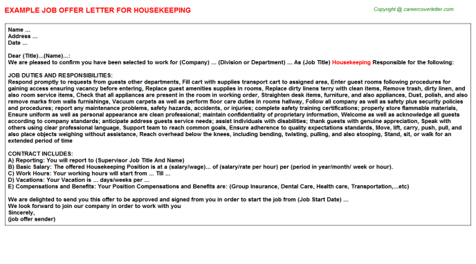 Housekeeping Offer Letter Template