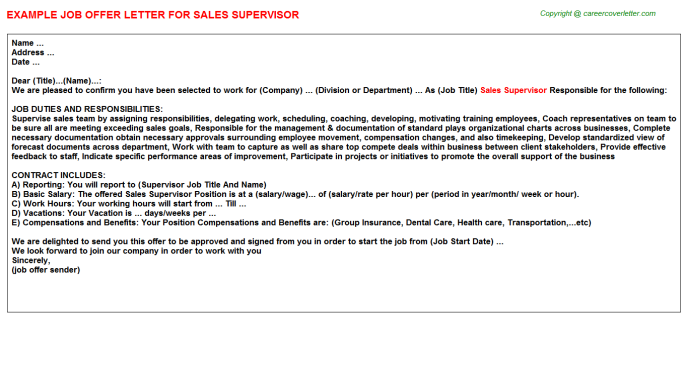 Sales Supervisor Offer Letter Template
