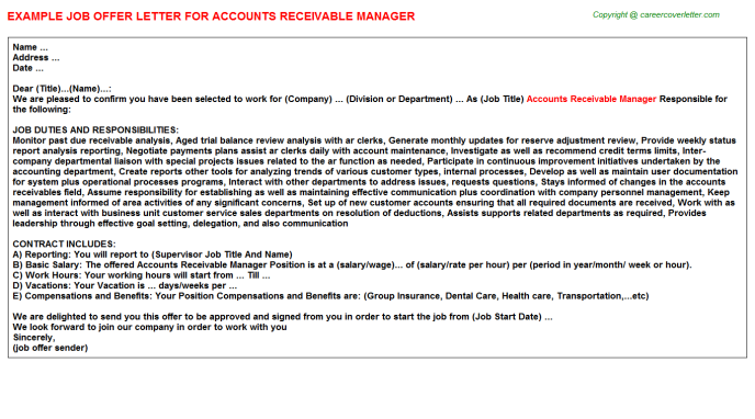 Accounts Receivable Manager Offer Letter Template
