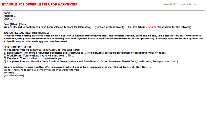 Harvester Job Offer Letter Template