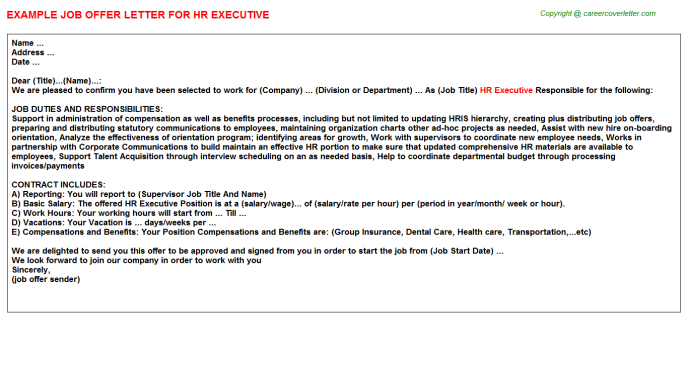 HR Executive Offer Letter Template