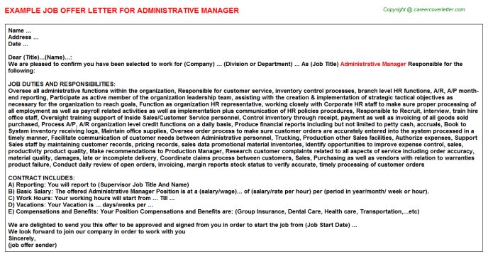 Administrative Manager Offer Letter Template