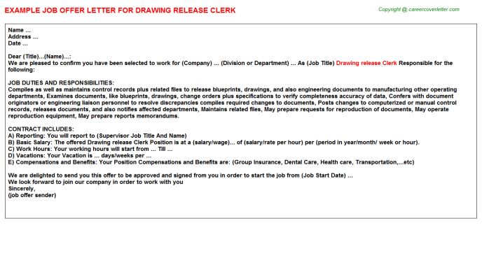 Drawing release clerk job offer letter (#2927)