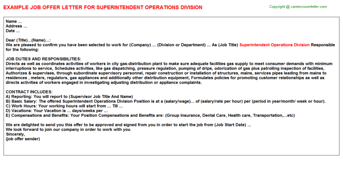Superintendent Operations Division Offer Letter Template